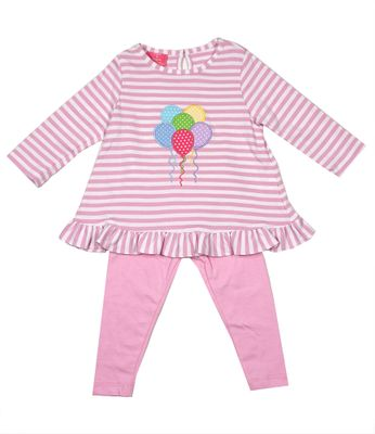 Exclusive to Best Dressed Child - Claire & Charlie Girls Tunic & Leggings Set - Pink Birthday Balloons
