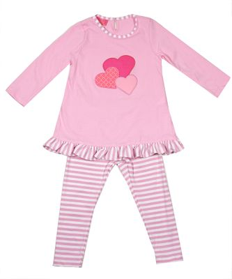 Exclusive to Best Dressed Child - Claire & Charlie Girls Tunic & Leggings Set - Pink Valentine Hearts
