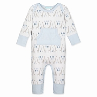 Feather Baby Boys Blue Kangaroo Pocket Romper - Giraffes