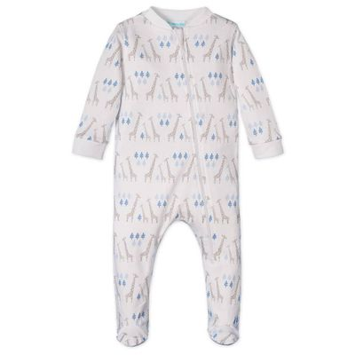 Feather Baby Boys Zipper Footie - Blue Giraffes