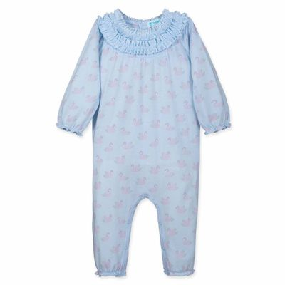 Feather Baby Girls Blue / Pink Swan Pointillism Double Ruffle Coverall