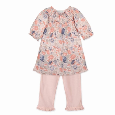 Feather Baby / Toddler Girls Ruched Tunic & Leggings - Christy Coral