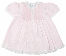 Feltman Brothers 6564 Newborn Baby Girls Slip Dress with Lace - Pink