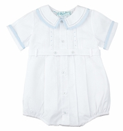 Feltman Brothers Infant Boys 23908 White Bubble Outfit with Blue Trim