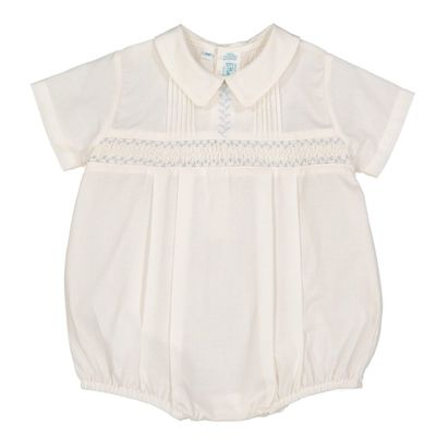 Feltman Brothers Baby Boys Ivory Vintage Bubble - Smocked in Blue