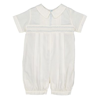 Feltman Brothers Baby Boys Ivory Vintage Romper - Smocked in Blue