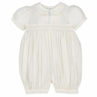 Feltman Brothers Baby Girls Ivory Vintage Romper - Smocked in Blue - Lace Trim
