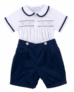 Feltman Brothers Baby / Toddler Boys Navy Blue / White Smocked Button On Suit