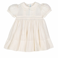 Feltman Brothers Baby / Toddler Girls Ivory Vintage Dress - Smocked in Blue