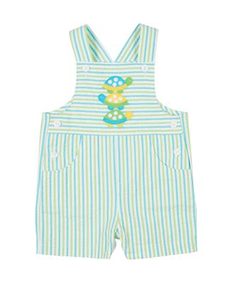 Florence Eiseman Baby Boys Aqua / Lime Green Stripe Seersucker Shortall with Turtles