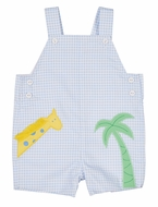 Florence Eiseman Baby Boys Blue Check Pique Giraffe / Palm Tree Shortall