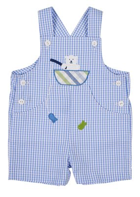 Florence Eiseman Baby Boys Blue Check Seersucker Shortall with Fishing Bear