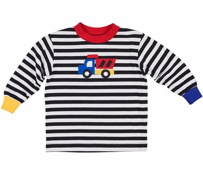 Florence Eiseman Baby / Toddler Boys Black / White Striped Shirt - Applique Truck