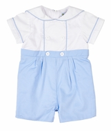 Florence Eiseman Baby Boys Blue Check / White Pique Sailor Romper