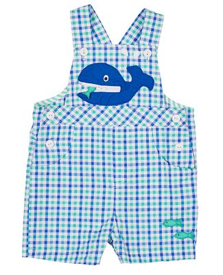 Florence Eiseman Baby Boys Blue / Green Check Seersucker Shortall - Whale with Zipper Mouth