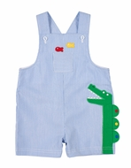 Florence Eiseman Baby Boys Blue Junior Pincord Shortall with Green Alligator