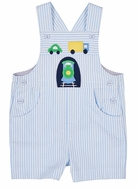 Florence Eiseman Baby Boys Blue Seersucker Shortall - Choo Choo Train