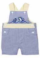 Florence Eiseman Baby Boys Blue Seersucker Shortall - Sailboats