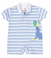 Florence Eiseman Baby Boys Blue Stripe Pique Romper with Seal & Beach Balls