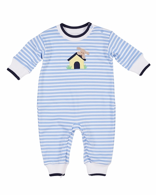 Florence Eiseman Baby Boys Blue Striped Knit Dog House Romper