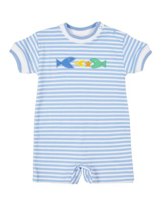 Florence Eiseman Baby Boys Blue Stripe Knit Romper with Fish
