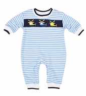 Florence Eiseman Baby Boys Blue Striped Romper - Helicopters