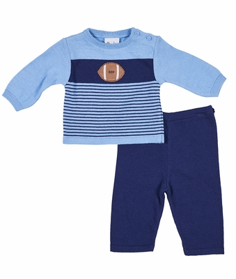 Florence Eiseman Baby Boys Blue Sweater Knit Football Pants Set
