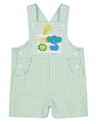 Florence Eiseman Baby Boys Green Seersucker Shortall - Zoo Animals