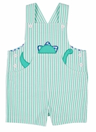 Florence Eiseman Baby Boys Jade Green Seersucker Shortall with Dinosaur