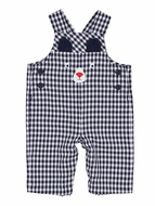 Florence Eiseman Baby Boys Navy Blue Check Longall - Teddy Bear Face