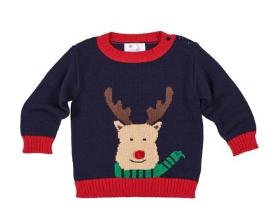 Florence Eiseman Baby / Toddler Boys Navy Blue / Red Rudolph Reindeer Sweater