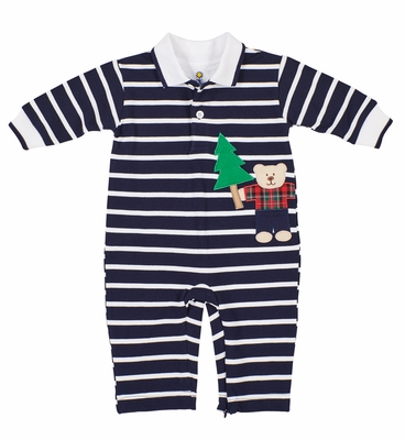Florence Eiseman Baby Boys Navy Blue Stripe Romper - Teddy Bear & Christmas Trees