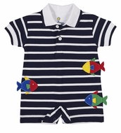 Florence Eiseman Baby Boys Navy Blue Striped Knit Romper with Fish