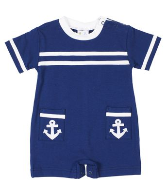 Florence Eiseman Baby Boys Navy Blue Knit Sailor Romper with Anchors