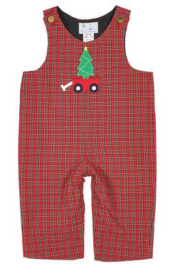 Florence Eiseman Baby Boys Red Holiday Plaid Longall - Christmas Tree Wagon