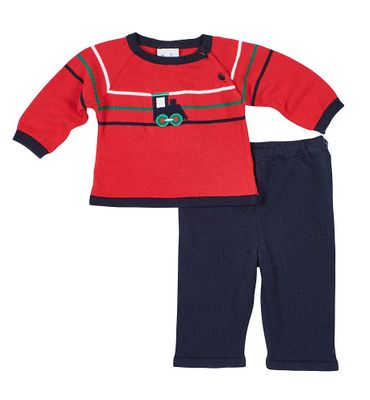 Florence Eiseman Baby Boys Red Train Sweater Set with Navy Blue Pants