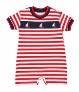 Florence Eiseman Baby Boys Red / White Stripe Romper with Sailboats