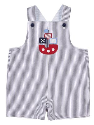 Florence Eiseman Baby Boys Reversible Shortall - Blue Seersucker - Pirate Ship / Nautical Flags