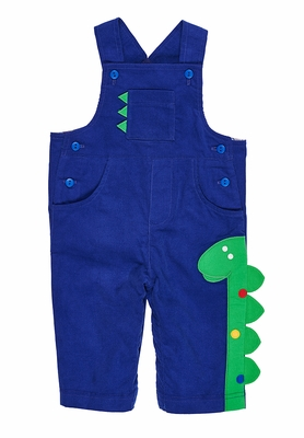 Florence Eiseman Baby Boys Royal Blue Corduroy Longall - Green Dinosaur with Pocket
