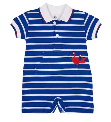 Florence Eiseman Baby Boys Royal Blue Striped Knit Romper with Crab - Cute Back!