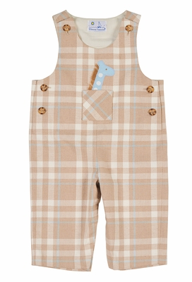 Florence Eiseman Baby Boys Tan / Blue Plaid Longall - Giraffe in Pocket