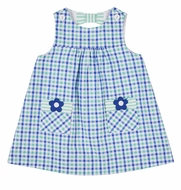 Florence Eiseman Baby Girls Blue / Green Seersucker Dress - Pockets & Flowers