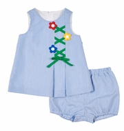 Florence Eiseman Baby Girls Blue Junior Pincord Dress with Bloomers - Flower Trellis