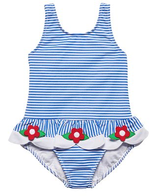 Florence Eiseman Baby / Toddler Girls Blue Seersucker Scallop Swimsuit - Red Flowers