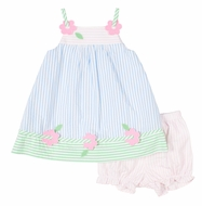 Florence Eiseman Baby Girls Blue / Pink Pastels Seersucker Dress with Bloomers