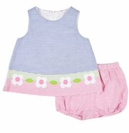 Florence Eiseman Baby Girls Blue / Pink Seersucker Dress with Bloomers