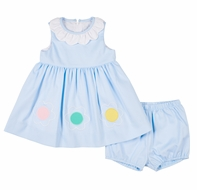 Florence Eiseman Baby Girls Blue Pique Flowers Dress with Bloomers