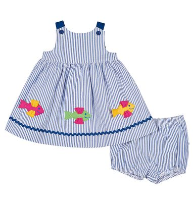 Florence Eiseman Baby Girls Blue Seersucker Dress with Bloomers - Fish