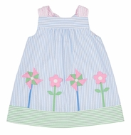 Florence Eiseman Baby Girls Blue Seersucker Dress with Flowers