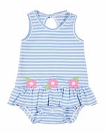 Florence Eiseman Baby Girls Blue Stripe Knit Ruffle Bubble with Pink Flowers
